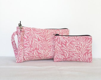 SALE - set of 2 - Square Wristlet  Zipper Pouch & Little Zipper Pouch - White Leaves in Pink
