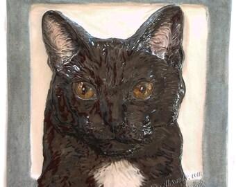 Cat Tile CERAMIC Portrait Sculpture 3d Art Tile Plaque FUNCTIONAL ART by Sondra Alexander In Stock
