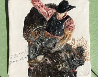 Bull Rider Rodeo Western Ceramic 3-d Tile by Alexander Art LLC sculpture Portrait In Stock ready to ship!