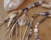 Spirit Beads for Meditation and Prayer + Mountain Spirits + Antler, Crystal, Tanzanite, Labradorite and Blue Gemstones + Home Altar