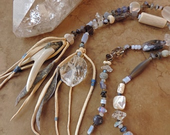 Spirit Beads for Meditation and Prayer + Mountain Spirits + Antler, Crystal, Tanzanite, Labradorite and Blue Gemstones + Home Altar