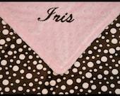Personalized Baby Girl Blanket-Minky Monogrammed Polka Dot Blanket