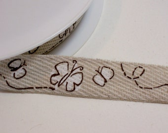 Beige Banding Tape, White Butterfly Ribbon 3/4 inch wide x 5 yards, Imported from France, FN