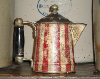 Americana Coffee Pot | Vintage Tin Coffee Pot | Old Small Coffee Pot |  Hand Painted Coffee Pot