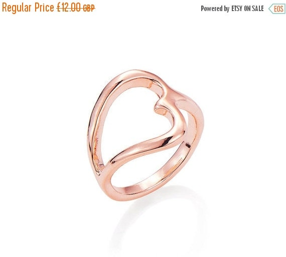 Rose Gold Open Heart Dress Ring