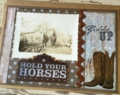 Giddy Up, Cowboy, Cowgirl, Horse, Pony, Boots, Handmade Card, Greeting Card, Vintage Photo, Altered Art, Collage, Vintage Style, OOAK
