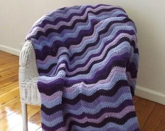 Ripple crochet blanket in multi toned purples