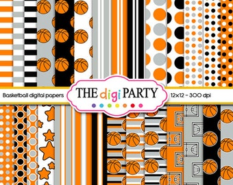 basketball digital paper orange Black and white printable paper pack kit commercial use sports