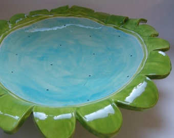 whimsical pottery Serving Dish or Platter, light Turquoise, Lime green with white polka-dots black & white stripe legs