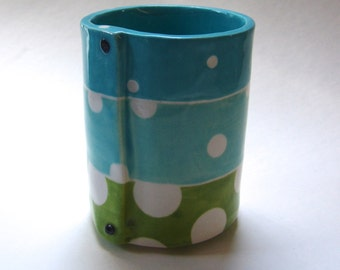 pottery Vase, Utensil Holder or Pencil Cup, colorful Turquoise & Lime green with polka dots