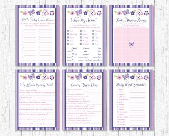 Pink Purple Butterfly Baby Shower Games Pack 8 Printable Games