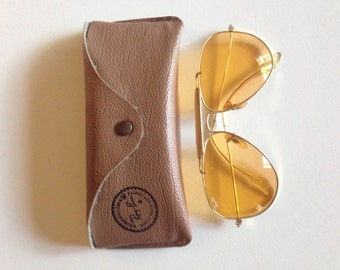Handsome Ray-Ban Outdoorsman Aviator Amber or Peach Glasses Gold Plated 58[]14mm