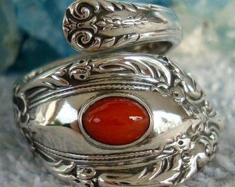 Vintage Carnelian King Richard Towle Sterling Spoon Ring dmfsparkles