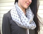 Infinity Scarf - Ships Wheel Pattern - Sand Beige Tan Neutral Colour - Pattern Imperfections - Silky Satiny Smooth