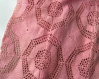 Vintage Crochet Lace Curtains - Handmade Cotton Pinch Pleat Pink 1950s Drapes