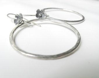 The Vagabond - Minimalist Sterling Silver Hoops Wildflower Ear Wires Bohemian Jane Plain Artisan Earrings