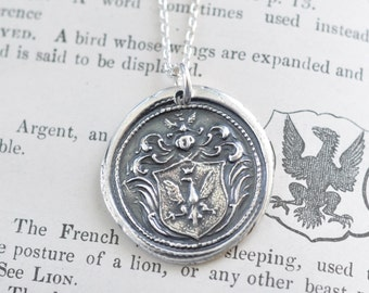 eagle wax seal necklace … strength, bravery, protection - eagle family crest - fine silver antique armorial wax seal jewelry