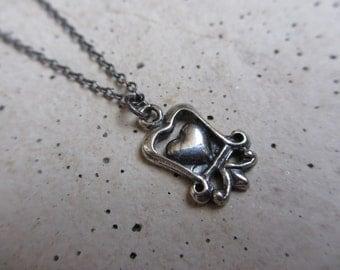 Heart Necklace, Fleur de Lis, Silver, Oxidized Silver, Sterling Silver, Silver Heart, Pendant, Irisjewelrydesign
