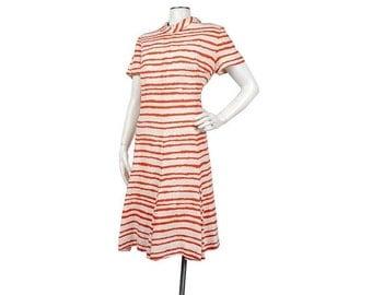 SALE Vintage 60s Dress - 60s Mod Dress - 60s Scooter Dress - Red Tan - Tiger Stripes - Pleated Dress - Large - XL - XXL - 60s Striped Dress