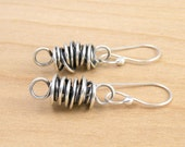 Sterling Silver Twisted Wire Earrings, Large & Thick Twisted Links, Wire Wrapped Dangle Earrings, Everyday Earrings,  #4095