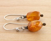 Boho Amber Earrings, Rustic Amber Dangle Earrings, Sterling Silver, Wire Wrapped, Amber Nuggets, #4321