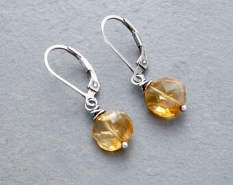 Faceted Citrine Gemstone Earrings, November Birthday, Petite Golden Yellow Dangle Earrings, Jewelry, Sterling Silver, #4701