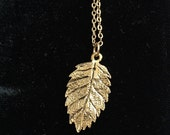 Antique gold plated vintage leaf branch tree necklace chain pendant