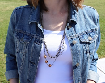 Long chain necklace / palmwood beads with antique brass