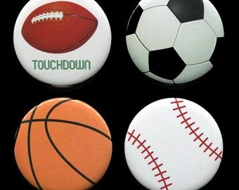 Sports Magnets - Locker Magnet - Baseball - Football - Soccer - Basketball - Magnets for Boys - 2.25 Inch Magnet - Set of 4