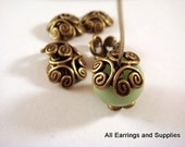 25 Bronze Bead Caps Flower Antique Tibetan Silver 12-13mm - 25 pc - F4110BC-AB25