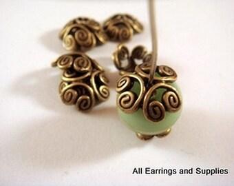 25 Bronze Bead Caps Flower Antique Tibetan Silver 12-13mm - 25 pc - F4110BC-AB25