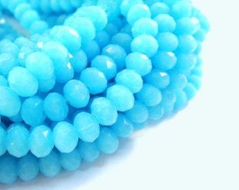 50 Aqua Glass Bead Rondelles Opaque Faceted Light Blue Abacus 6x4mm - 50 pc - G6026-BL50