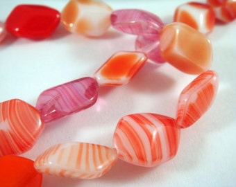 BOGO - 13 Czech Glass Mix Orange, Fuchsia and Tan Faceted Oval Beads 13x10mm - 13 pc - G6073-AS15 - Buy 1, Get 1 Free - no coupon required