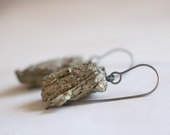 Pyrite earrings. Black sterling silver earrings with natural Pyrite beads. Rough Pyrite, raw crystal, metalic dangles. One of a kind.