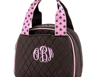 Personalized Lunch Bag Brown Pink Quilted Polka Dots Insulated Monogrammed