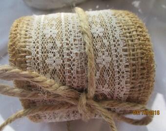 Burlap and Lace Ribbon  2 yards  Handmade