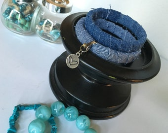 Denim Bracelet + Charm, Set of 2