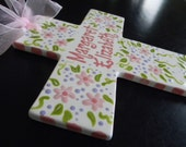 """Extra Large 10"""" Children's Ceramic Floral Cross Plaque  - Birth, Baptism or Christening Gift"""