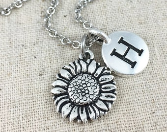 Personalized Sunflower Necklace With Monogram Initial, Silver Sunflower Charm Necklace, Sunflower Charm, Flower Necklace, Personalized Gift
