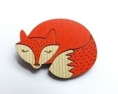 Red fox brooch wooden wood orange hand painted scandinavian woodland forest