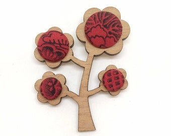 Kimono Tree Brooch - Blood Red Floral