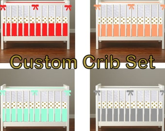 Easy mix  Solid and Gold  Custom Modern Crib Bedding set - create your own set