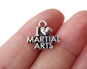 "4 ""I Love MARTIAL ARTS"" Charms 17x14.5mm"