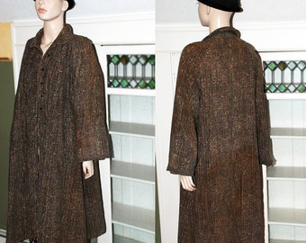 Vintage 1940's swing coat overcoat maxi coat olive green tweed corduroy rockabilly pinup INCLUDES US SHIPPING