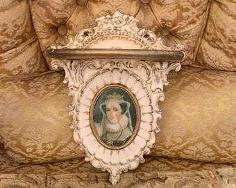 Vintage Syroco Sconce Shelf Wall with Cameo Creations Lady Portrait Gesso - French Paris Picture -