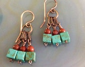 Southwest Dangle Earrings Turquoise Red Jasper Antique Copper Hammered Handmade Earwires      1.99 Shipping USA