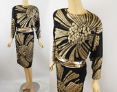 1980s Gold and Black Party Cocktail Dress by Lillie Rubin Sz 6 B34 W26