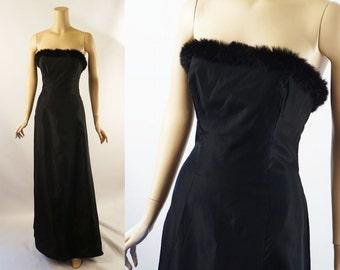 Vintage 1990s Formal Gown Black Fur Trimmed Strapless Evening Gown Sz 10