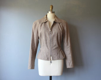 vintage 90s jacket / checkered zippered jacket / linen cotton / cinched waist / S
