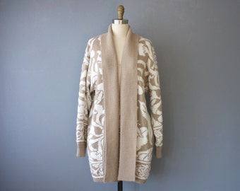 vintage 80s cardigan / beige white floral slouchy sweater / oversized cardigan / M
